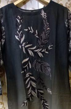 Black Khadar Shirt with Beautiful handmade work