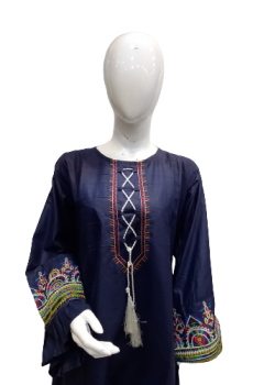 Cotton Shirt With Embroidery On Sleeves - Blue