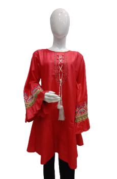 Cotton Shirt With Embroidery On Sleeves - Red