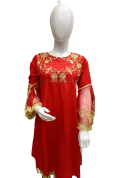 Embroidered Linen Shirt - Red