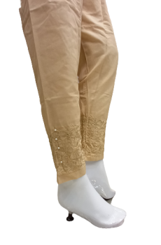 Embroidered Trouser - Peach