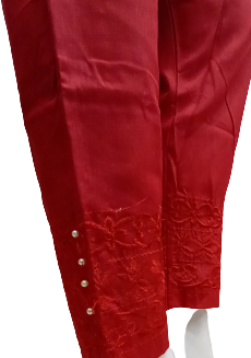 Embroidered Trouser - Red