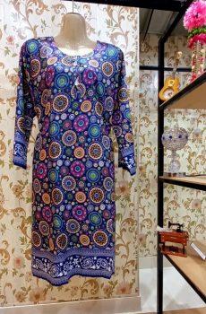 Linen Shirt Kurti Blue Ajrak Style