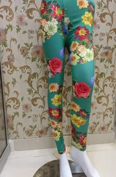 Green Print – Floral Tights