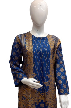 Stitched 2 Piece Suit With Beautiful Print - Shirt & Trouser - Blue